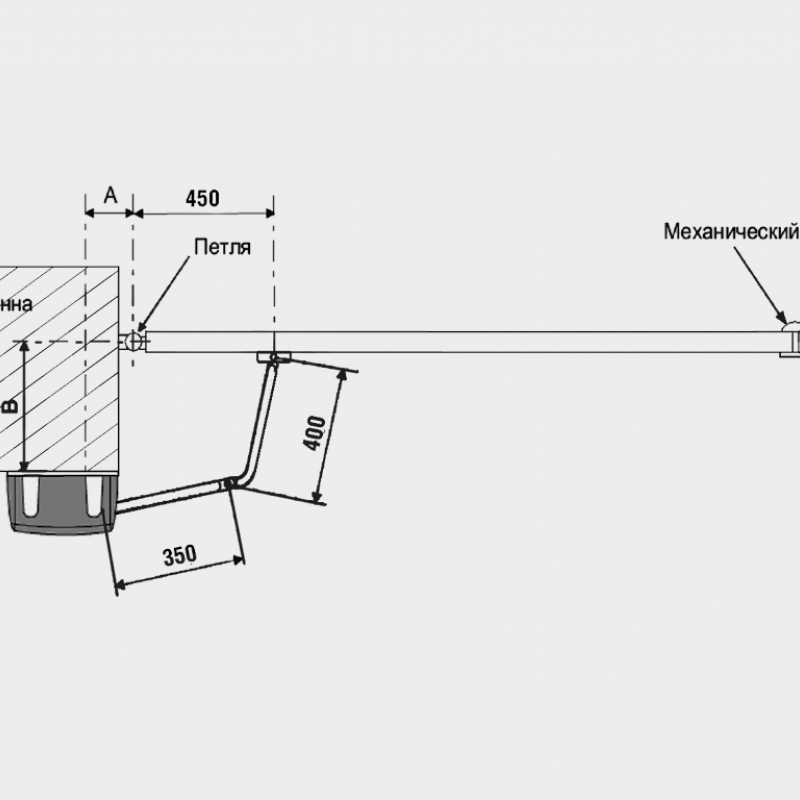 Привод рычажный ARM-320 ширина створки до 2 м, вес ворот до 400кг/Black