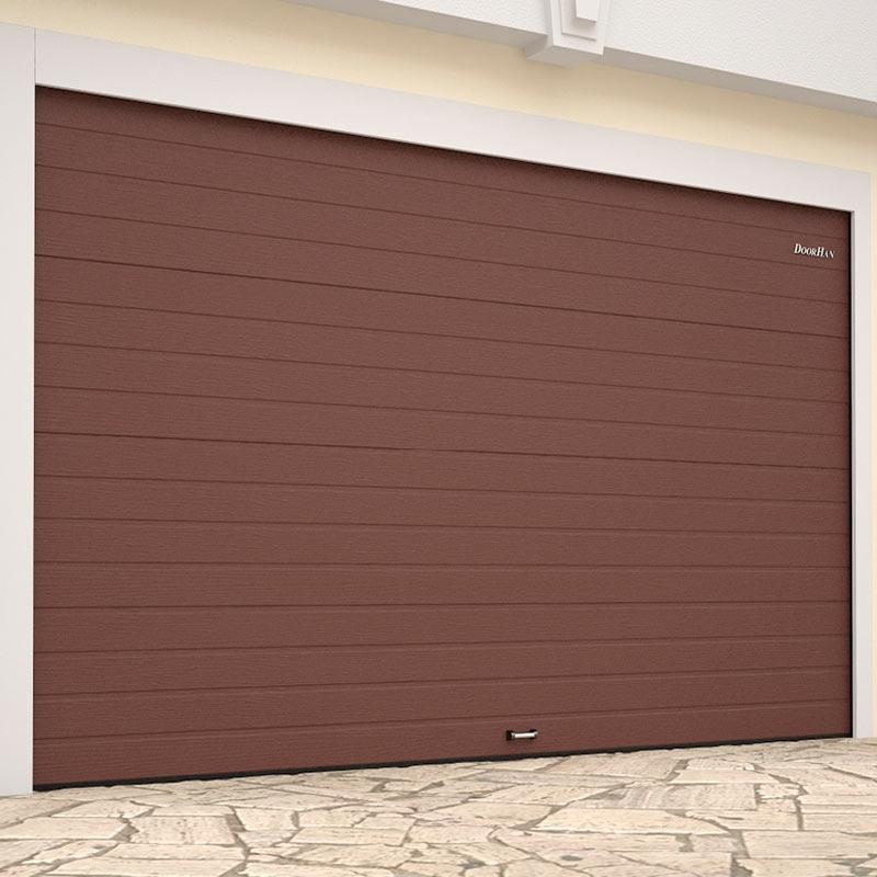 Ворота гаражные секционные (RSD01 LUX), L= 3000, H=2700   ✦коричнево-красный / белый ✦
