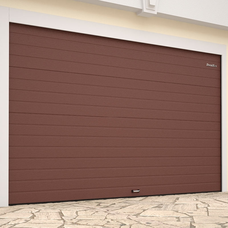 Ворота гаражные секционные (RSD01 LUX), L= 3000, H=2600   ✦коричнево-красный / белый ✦